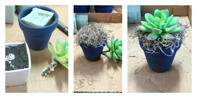a small clay flower pot painted blue with succulents being added to it