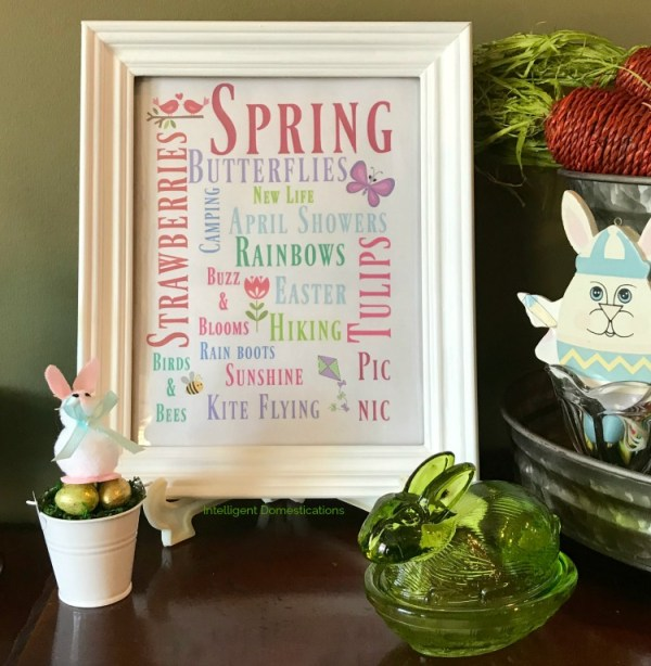 Spring Subway Art Free Printable. How to use Spring Subway Art in a vignette. Free printable spring subway art