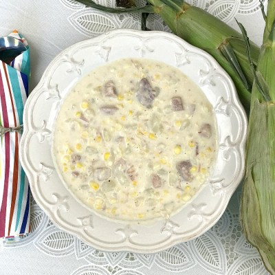 Creamy Corn Chowder with Potatoes and Ham