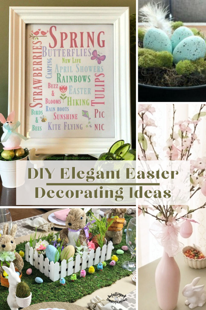 a photo collage of pretty Easter decorations you can make