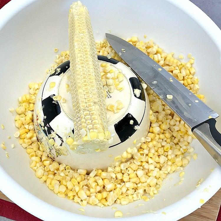 Corn cut off the cob in a bowl