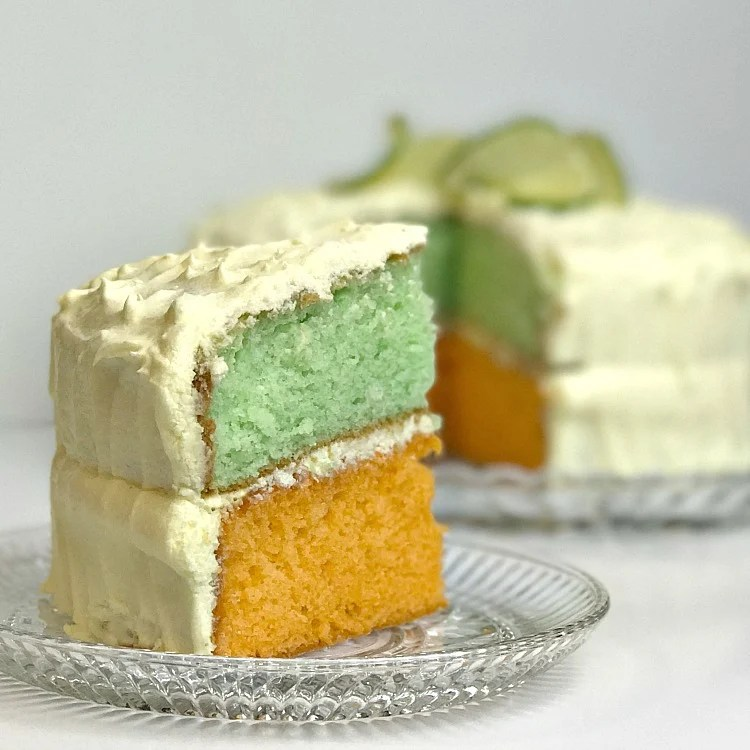 green and orange cake which is lemon and lime flavors