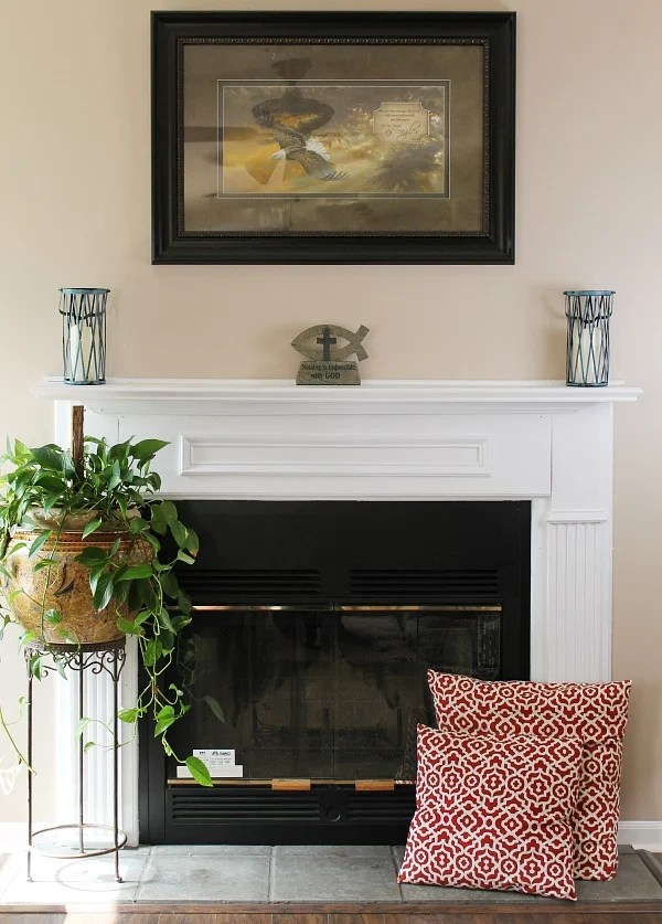Before and After painting the fireplace white