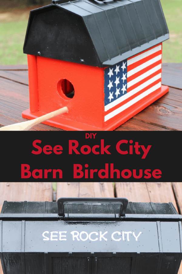 DIY See Rock City Birdhouse tutorial. How to make your own See Rock City Barn Birdhouse.