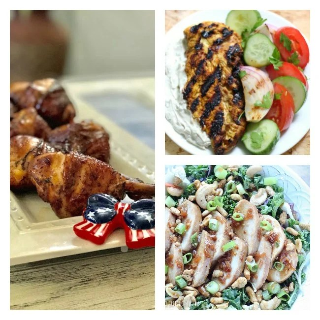 7 Chicken Dinner Ideas for summer meals include baked, grilled, slow cooked and more ideas! These chicken dinner recipes include secrets for smoking wings, slow cooked wings with only three ingredients and some delicious marinade recipes! Weeknight chicken dinner recipes