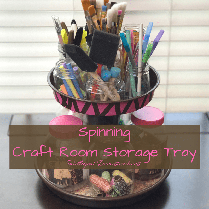 How to DIY your own Easy Spinning Two Tier Spinning Craft Room Storage Stand