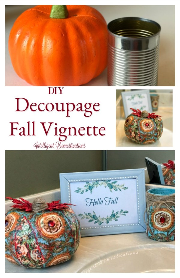 DIY Decoupage Fall Vignette projects you can do at home. Create your own dollar store fall vignette. Dollar store craft projects. Decoupage project.