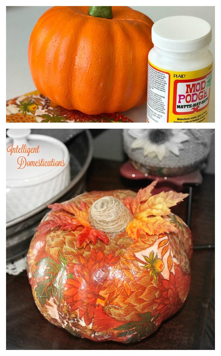 Fall Napkin Dollar Store Pumpkin Makeover
