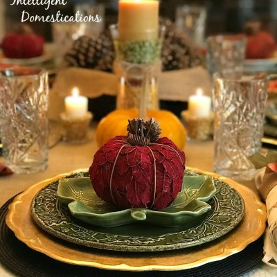 Gold and Green Glass & Natural Thanksgiving Tablescape