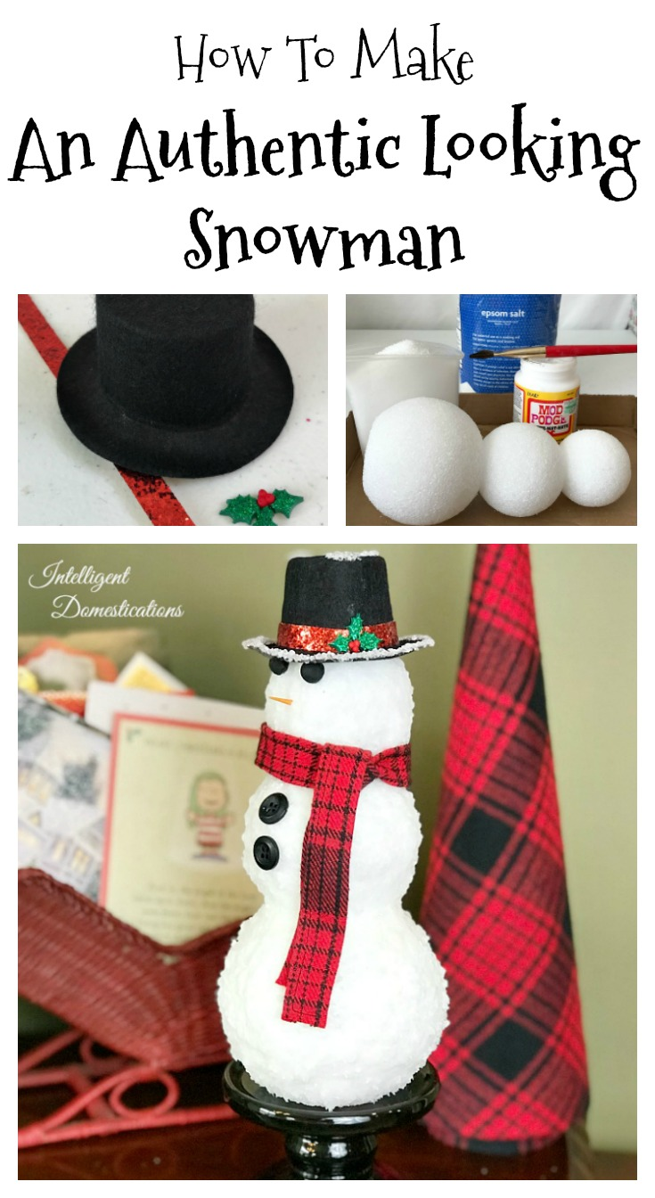 DIY Icy The Snowman Vignette Decor. How to make a real looking snowman for your home decor. DIY Icy looking snowman. Use Epsom salts to create real looking ice for your DIY snowman