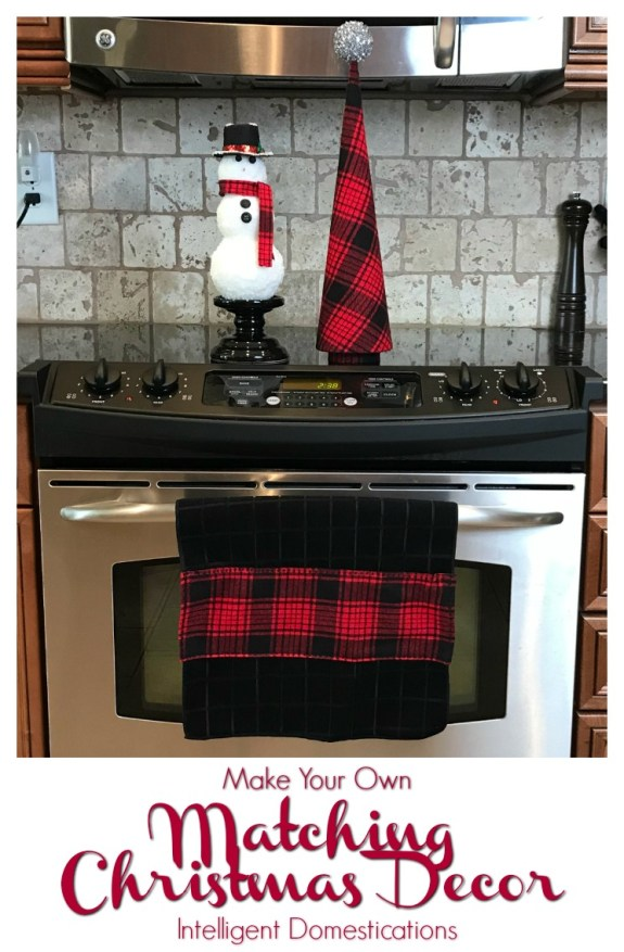 Dollar Store dish towels are not the greatest quality. I think we can probably all agree on that. However when you are creating matching plaid Christmas decor for you kitchen please don't overlook the possibilities of the Dollar Store dish towel.