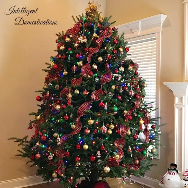 Traditional Red Ornaments and Plaid Ribbon Christmas Tree. 2017 Christmas Tree Blog Hop