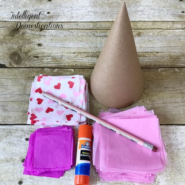 supplies for making a tissue paper cone tree for Valentine's