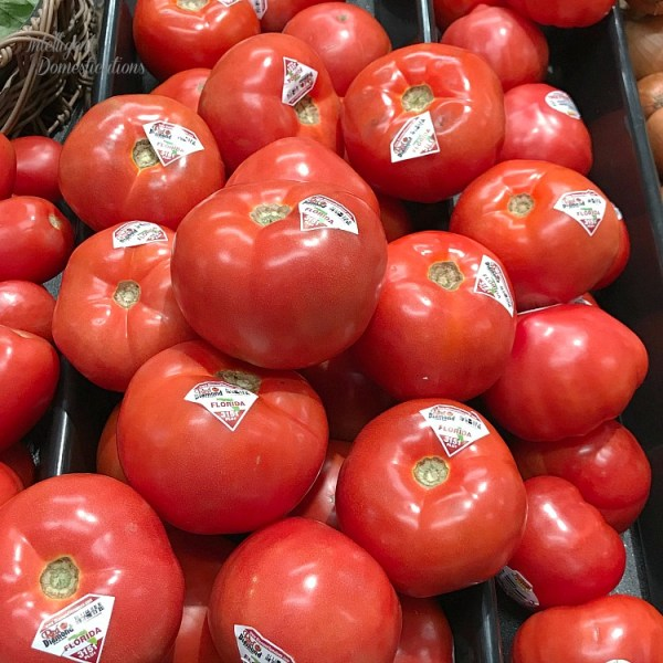 Fresh tomatoes grown in Florida sold in the Publix produce department in Georgia