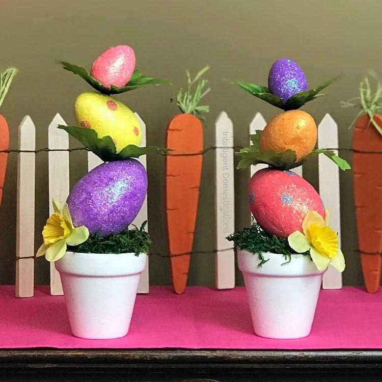 DIY Mini Easter Egg Topiary Decor