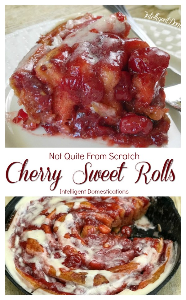 How to make Cherry Sweet Rolls using store bought cinnamon rolls and cherry pie filling. This is the easiest recipe ever for Cherry Sweet Rolls. #homemadedessert #dessert #sweetrolls #pastry