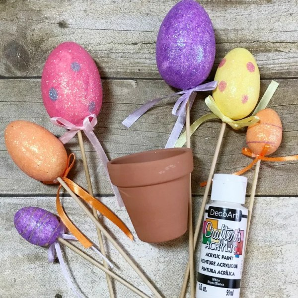 Supplies needed to make Mini Easter Egg Topiary
