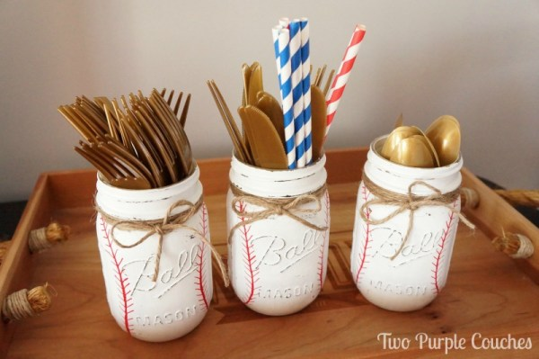 DIY Baseball Mason Jars