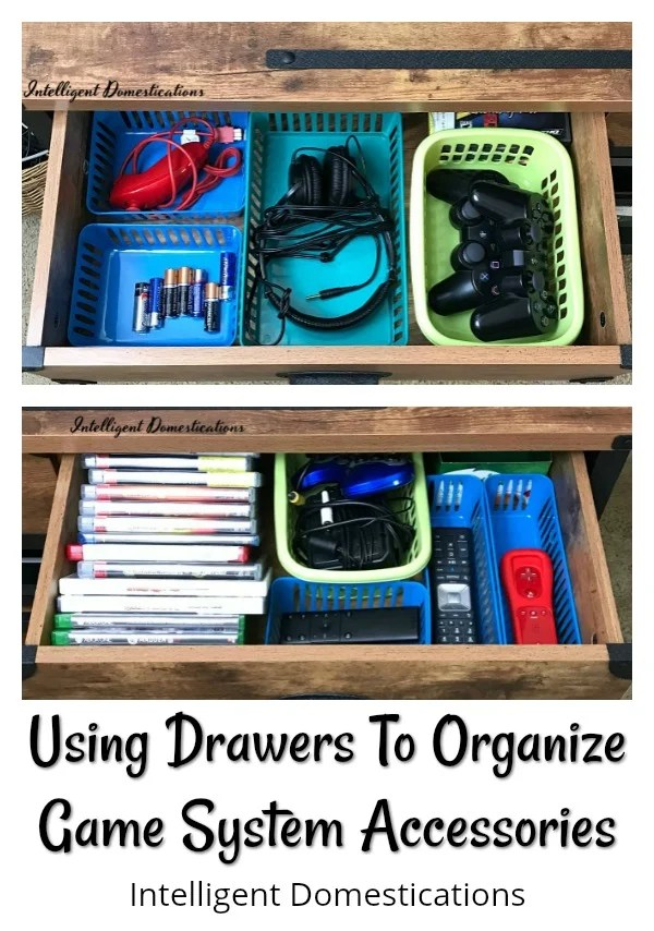 Using drawers to organize game system accessories and supplies. How I organized our game system accessories with drawers on a TV console. #howtoorganize