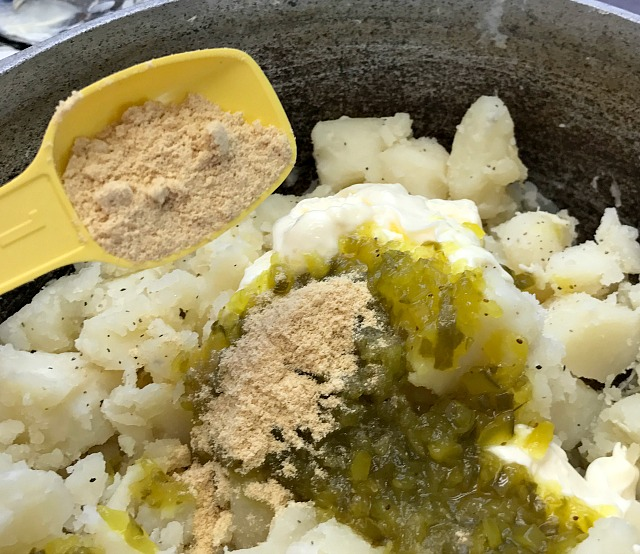 Southern Potato Salad recipe. My recipe is just like Mom's and her Mom too with little bits of fresh potatoes and lots of flavor. Potato Salad is a summer side dish must have for picnics and family gatherings. How to make potato salad from scratch. #sidedish #potatosalad #summerfood #picnicfood
