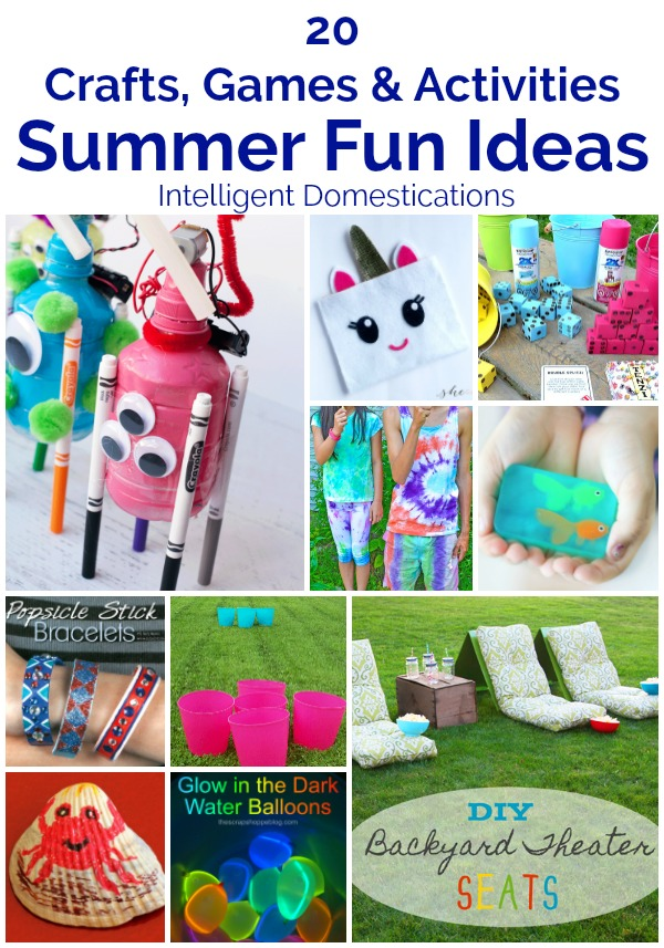 20 Summer Crafts Games and Activities for Summer Fun. Summer Fun Ideas for Kids of all ages. #summerfun #summeractivities