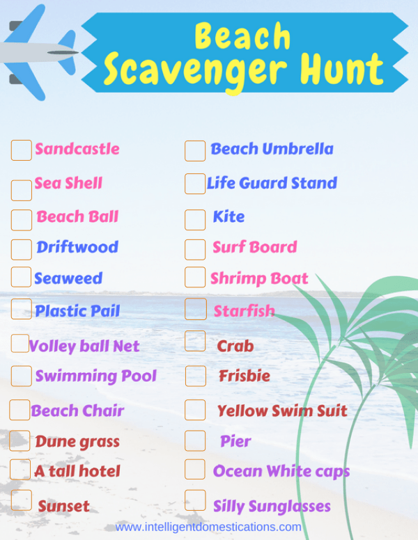 Beach Scavenger Hunt free printable. Keep the kids busy at the beach with our free printable scavenger hunt. Fun for kids and adults too! #beachvacation #beachscavengerhunt