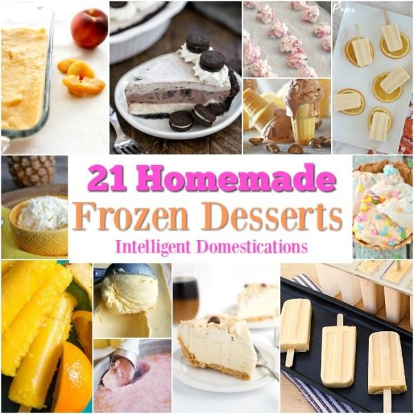21 Homemade Frozen Dessert Recipes for summer. Summer Dessert recipe ideas. Frozen pie recipes. Popsicle Recipes. Homemade Ice Cream Recipes. #icecream #recipes #dessert #popsicle #summerfood