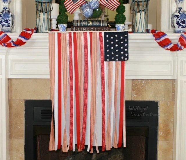 You can make this Red White and Blue Ribbon Banner Flag for 4th of July decor or any Patriotic American celebration. Our version is No Sew using craft store supplies. and glue. #ribbonflag #Patrioticdecor #4thofjuly