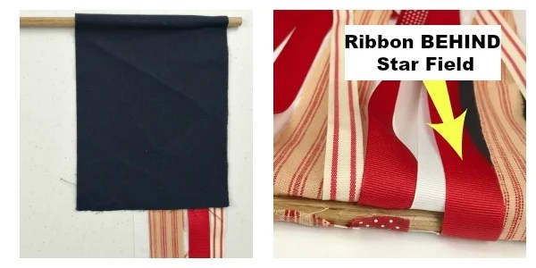How to hang the ribbon behind the star field on a DIY Ribbon Flag