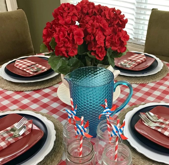 Red White And Blue Tablescape Decor Ideas. Summer Tablescape Decor. Red And  White Checkered