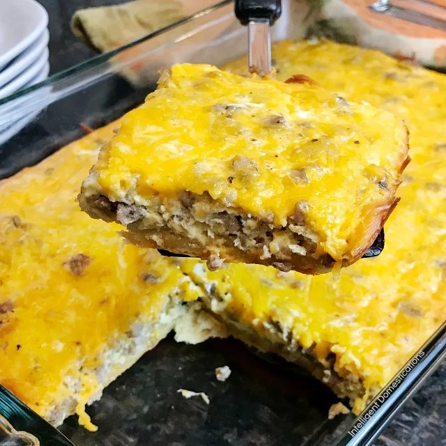 breakfast casserole recipe cheesy sausage eggs and crescent rolls are the main ingredients is this - Christmas Casserole Recipes
