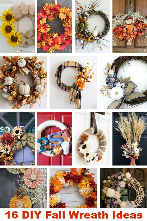 16 Fall Wreaths pictured in a collage