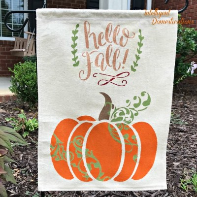 DIY Garden Flag Using A Pumpkin Stencil
