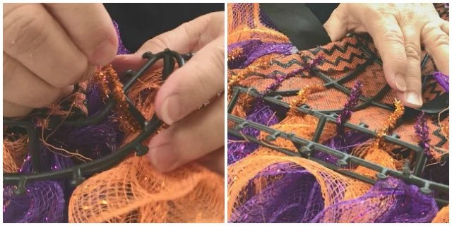 The backside of a Halloween wreath while being made