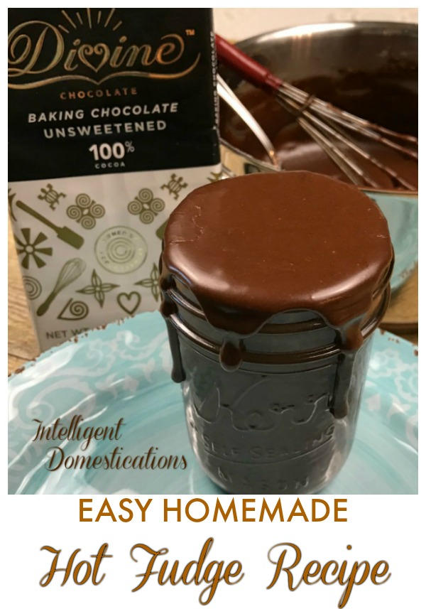 Easy Homemade Hot Fudge Recipe with only 4 ingredients and a few minutes of your time. Make this delicious thick chocolate sauce for ice cream topping or bundt cake glaze. #chocolate #hotfudge #homemadechocolate #homemadefudgesauce #cocoa