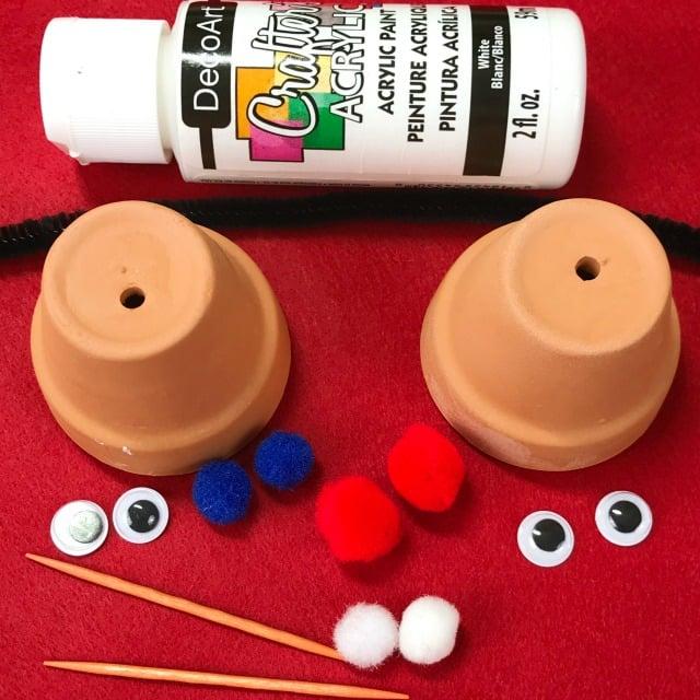Kids Christmas Craft Mini Terracotta Pot Snowman Ornament