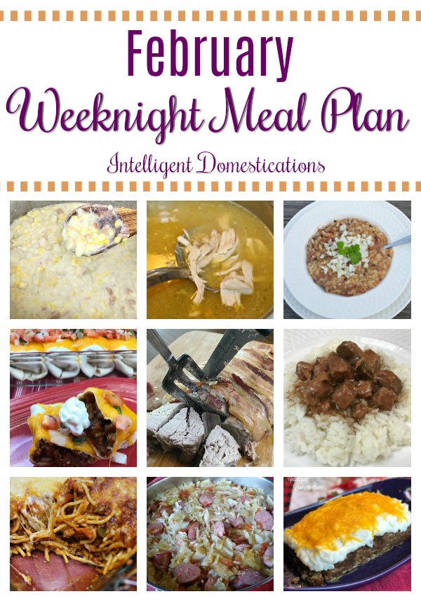 February Weeknight Meal Plan. A meal plan for February consisting of weeknight meal ideas with recipes including sides and desserts. #mealplan