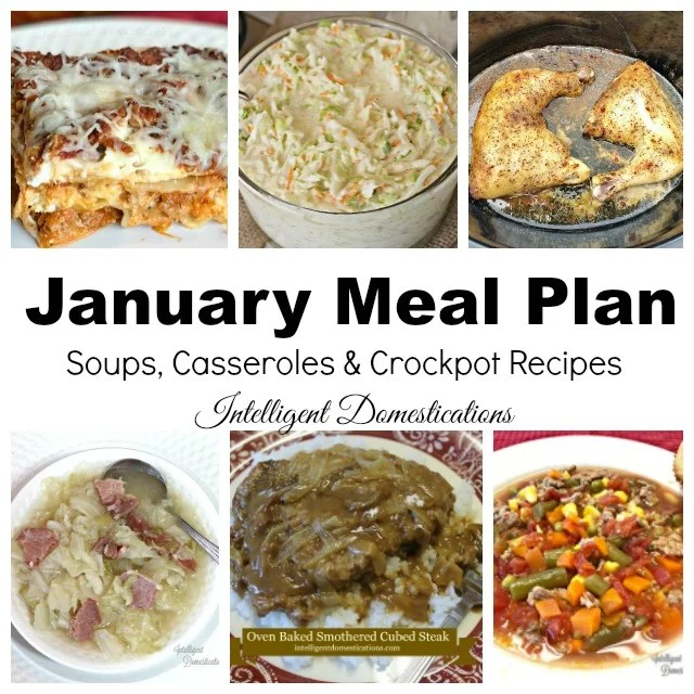 Monthly Meal Planning for 2019. January Meal Plan including recipe ideas. Weeknight meal planning with links to recipe suggestions. #mealplan #menuplan