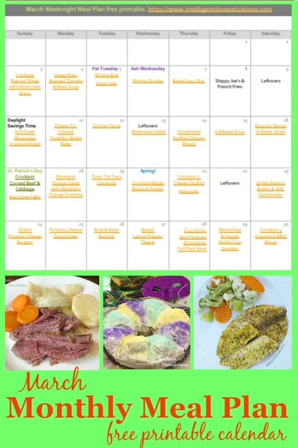 March Monthly Meal Plan free printable calendar. This month of weeknight meal ideas includes links to recipes. Print or Download the calendar. Weeknight meals including recipes for soup, casseroles, made from scratch meals and desserts. #mealplan #freeprintable
