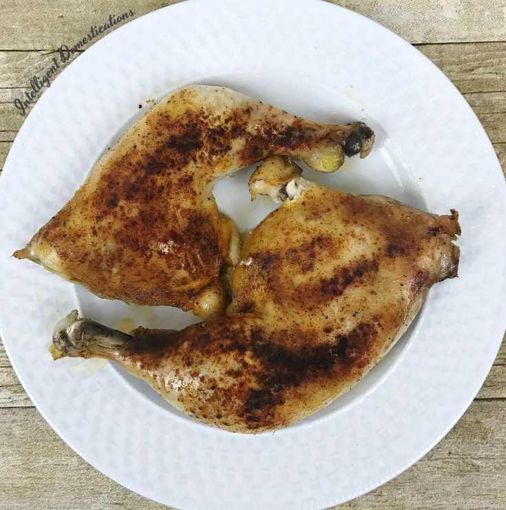 Baked Chicken Leg Quarters on a white dish