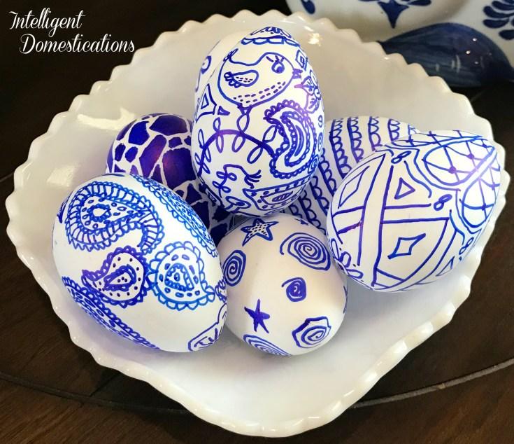DIY Blue & White Easter Eggs
