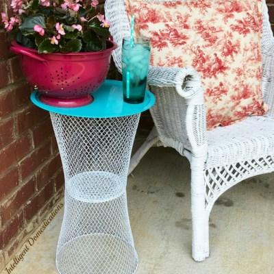 DIY Wire Basket Outdoor Table