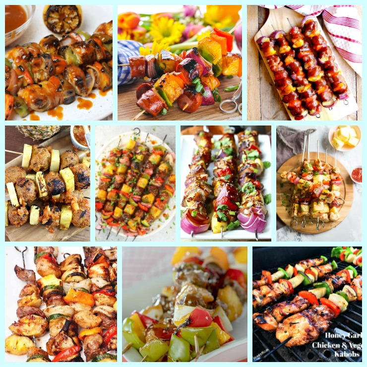 Ten Kabob Recipes for your Tropical Party. Try these Kabob recipes this summer. Good for a Tropical party of anytime. Chicken, Pork, or Shrimp skewered along with fruits and veggies make a delicious summer treat. #kabob