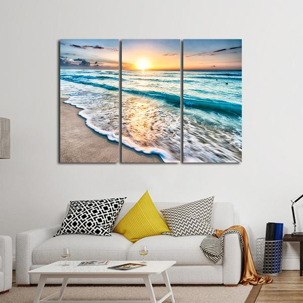 Sunrise in Tulum Multi Panel Canvas Wall Art designed with 100% premium canvas that comes with utmost durability, Ready To Hang; no additional hanging hardware required