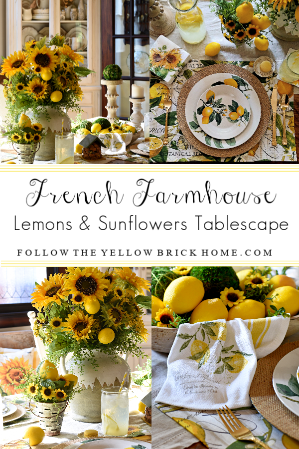French Farmhouse Lemons and Sunflowers Tablescape – Follow The Yellow Brick Home