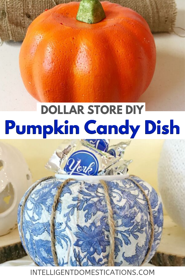 DIY Blue and White Pumpkin Candy Dish made from a Dollar store pumpkin