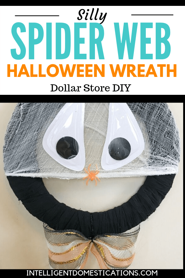 Our Silly Spider Web Halloween Wreath is a quick and easy craft project ready in under 30 minutes. It's also a Dollar Store Halloween project so Yay! Budget friendly seasonal decor is always a good thing.