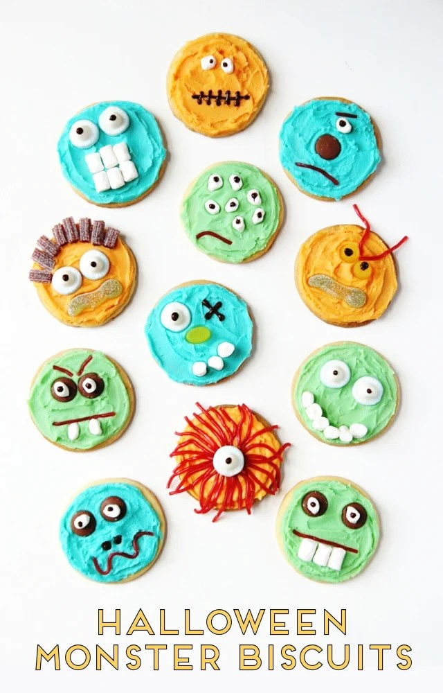 MAKE, BAKE AND DECORATE YOUR OWN HALLOWEEN MONSTER COOKIES.