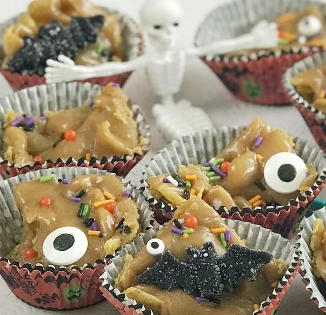 Halloween dessert served in muffin cups