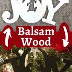 Balsa wood precut JOY Christmas tree ornaments